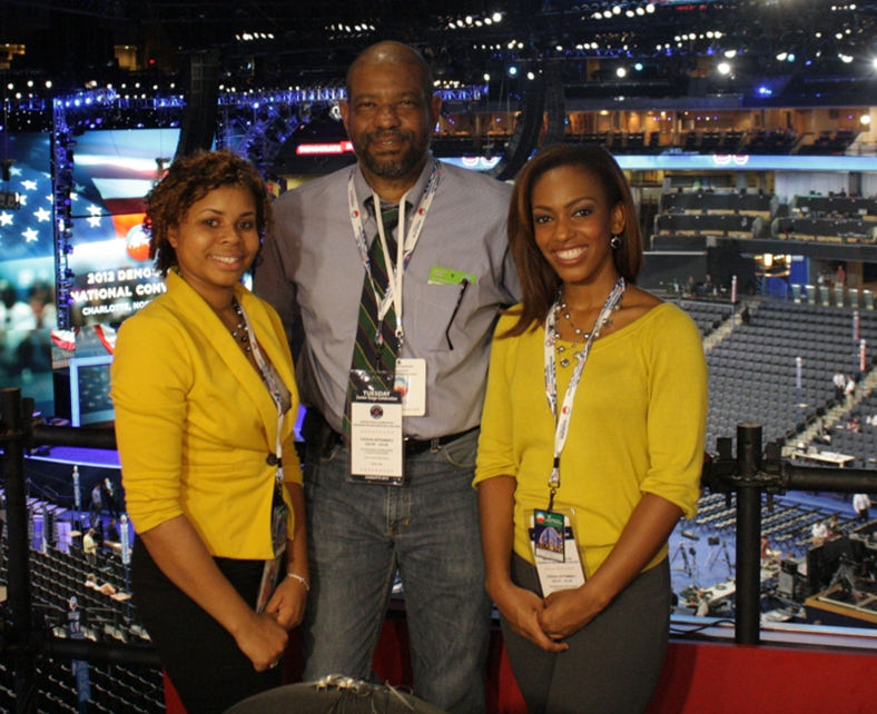 Florida A&M University journalism students Courtney Wallace (left) and Lenneia Batiste are providing news coverage of the Democratic National Convention under the leadership of CBS Harold Dow Visiting Professor Benjamin Davis.