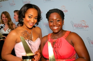Photo caption: Amber Mackie (left) and Lacrai Mitchell (right) pose on the red carpet outside the 2013 College Television Awards Gala. [Photo credit: Xavier Higgs]